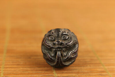 unique china old tibet yak-horn hand carved dragon head stayue netsuke pendant