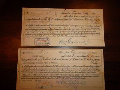 HOUSTON TEXAS  -  2 Promissory Notes FIRST NATIONAL BANK  -  1929 Lot