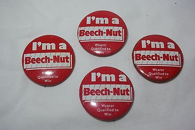 Vintage I'm A BEECH-NUT Wearer Qualified To Win Red Pinback Pin Button Badge Lot