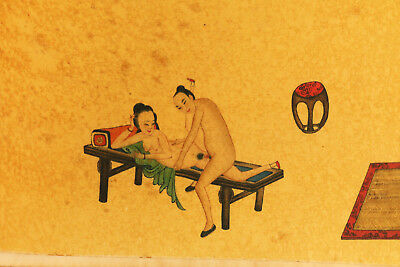 different picture Chinese old paper hand printing painting sexual culture roll