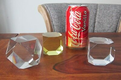 Three Art Deco Baccarat Paperweight Crystal Cubes