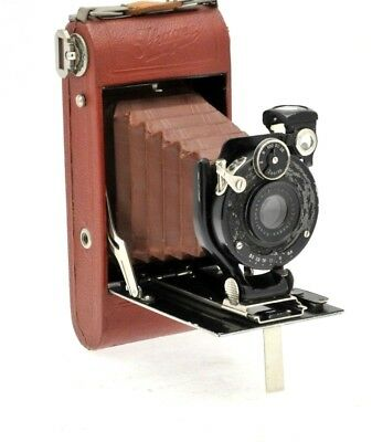 Rare Ihagee Ultrix 1460 in Red Leather with Brown Bellows Folding Camera