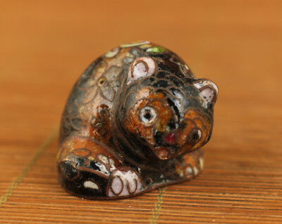 mini Chinese old cloisonne hand carved bear statue Figure Netsuke Collectable