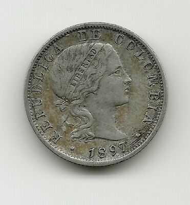 World Coins - Colombia 10 Centavos 1897 Silver Coin KM# 188