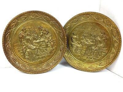 Vintage 1970s Pair of Brass Tone Relief Repousse Wall Plates Planters Pub Scenes