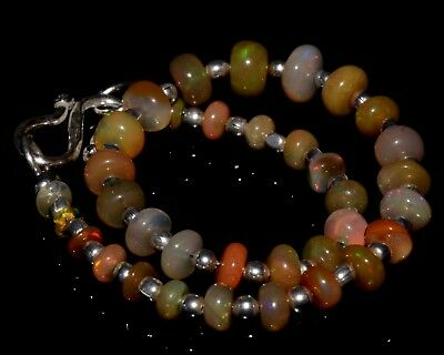 "O-1266 Ethiopian Fire Opal Gemstone Rondelle Plain Bead 16Ct 3-6mm 7"" Bracelet $"