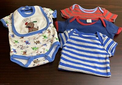 Carter's Infant Boy Size 3-6 Months Bodysuits and Bib Weeplay Dog GUC