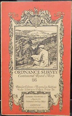 Bury St Edmunds 1920 Vintage Ordnance Survey Popular Edition One-Inch Map 86
