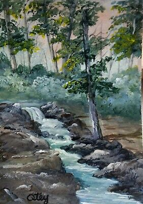 Aceo, acrylic,original, landscape, Rushing Stream by Donna Otey