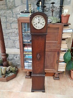 Vintage-Oak Granddaughter Clock-Working Pendulum Movement-Key/Chimes-c1920's