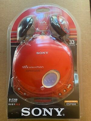Factory Sealed Sony Walkman D-E350 Ruby Red Psyc Wow! Rare!