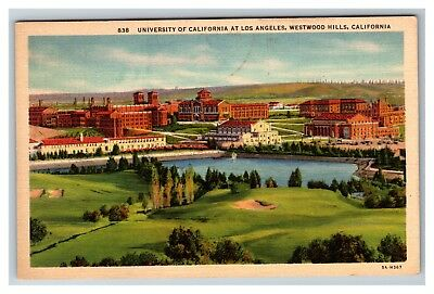 University of California at Los Angeles Westwood Hills Linen 1940's Postcard I22