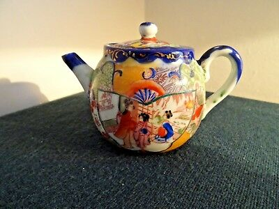 Antique 19Th Century Chinese Hand Painted Geisha Scenes Small Teapot