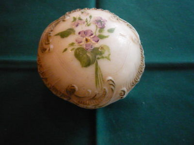 Old Porcelain Powder Box with Puff
