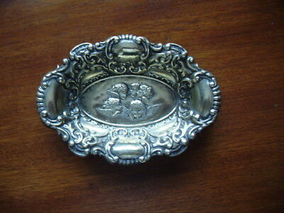 Vintage White Metal Embossed Trinket Or Bon Bon Dish
