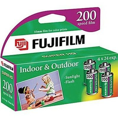 Fujifilm Fujicolor 200 Speed 24 Exposure 35mm Film - 4 Pack