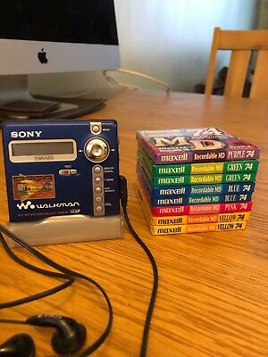 Sony Mz N707 Net Md Minidisc With Stand And 8 Blank Mini Disc