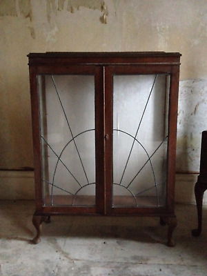 antique Edwardian wooden display cabinet