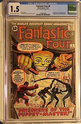 Fantastic Four #8 CGC 1.5 Marvel 1962 1st Appearance Puppet Master