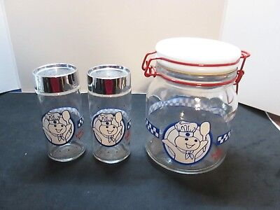 Anchor Hocking Poppin Fresh Pillsbury Dough Boy Canister & Salt & Pepper Shaker