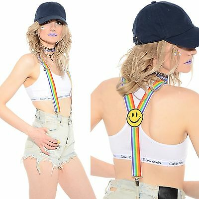 Vtg 80s 90s RAINBOW Striped Smiley Face Club-Kid Rave Stretchy Suspenders Braces