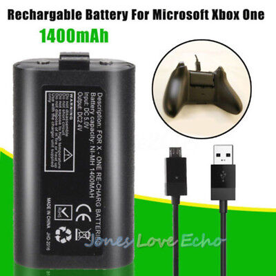 Rechargeable Battery+USB Cable FOR Official Microsoft Xbox One Play & Charge Kit
