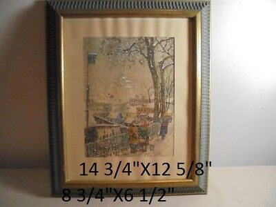 Russian-Signed -Indistinctly W/C Painting.-on board..Winter City Scape