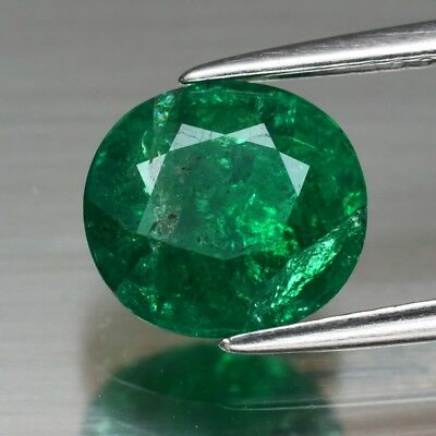 RARE! CERTIFICATE Inc.*1.90ct 8.5x8mm Oval Natural Green Emerald, Ethiopia