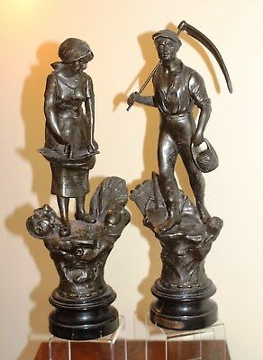 Pair of Spelter Male and Female Farming Figures most likely French