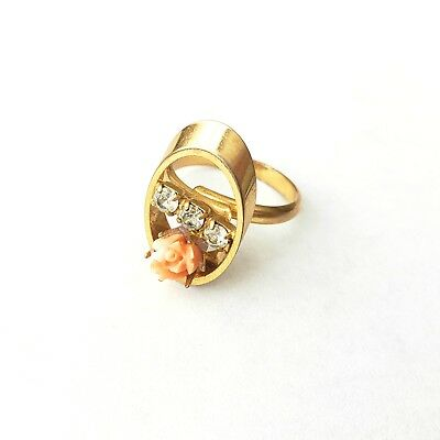 Vintage Gold Plated Ring Size 5.5 Genuine Carved CORAL Flower Rhinestone S159