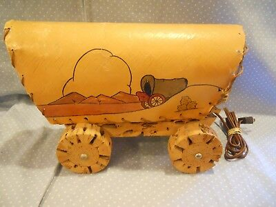 Vintage Western Covered Wagon TV Lamp Cholla