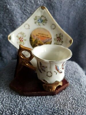 Vintage souvenir cup and saucer from Ashville, N.C.