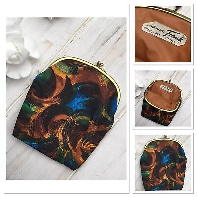 Vintage Abstract Small Make Up Cosmetic Bag Purse Clip Shut German 1960's 70's