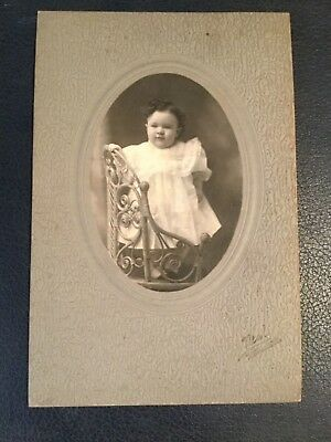 VINTAGE Cabinet Card Photo ~ Adorable Baby Standing in Fancy Wicker Chair
