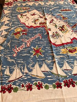 Vintage Cotton Tablecloth, Map of New Jersey, Primary Colors, White, 51 X 47 VGC