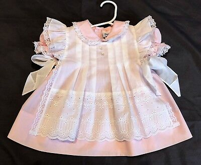 Vintage Baby Girl 18 Month Frilly Pink Ruffled 2Pc Pinafore Apron Dress Side Tie