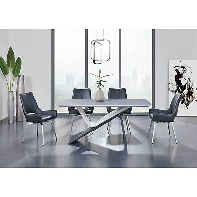 Buy our Best-Selling Dining Set in Grey & White Table with Modern Leather Chairs