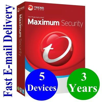 Trend  Micro Maximum Security 5 Devices / 3 Years (Unique Global Key Code) 2019