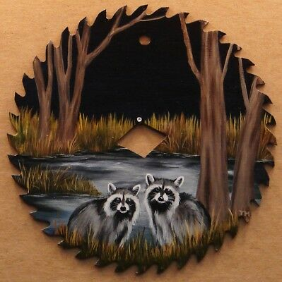 Hand Painted Saw Blade Two Raccoons at Night Pond Trees