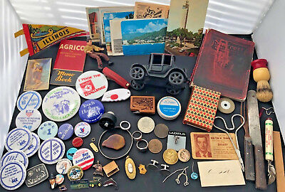 Vintage Junk Drawer Lot - rings, old coins, cast iron car, buttons, and more!