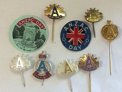 9 Different Anzac Day Appeal Badge Pins Including Metal Plastic & Celluloid