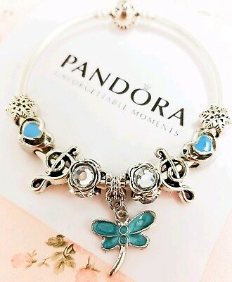 """Authentic Pandora Bracelet Silver Bangle with """"Blue Dragonfly"""" European Charms"""
