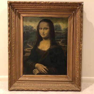 19th Century Antique Portrait Oil Painting of a Lady - Mona Lisa - f