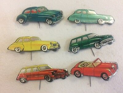 6 C1950s Car Pin Badges Made In Western Germany Panhard Saratoga Standard Eight