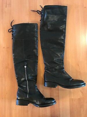 54d026c6f50 VINCE CAMUTO OVER-THE-KNEE Rear Lace Boots Tall Black Leather- Sz ...