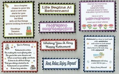 4 On Your Retirement Greeting Card Craft Scrapbook Verse Toppers W/WO Sentiments