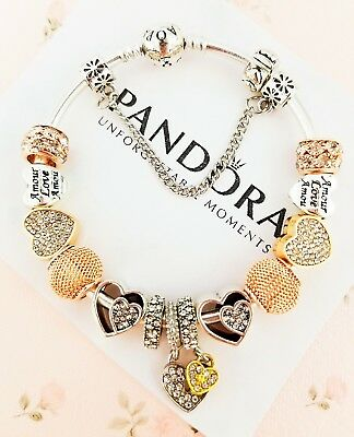 """Authentic Pandora Bracelet Silver Bangle with """"Love Story"""" European Charms"""