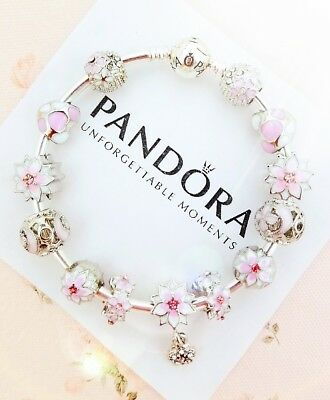 Authentic Pandora Silver Bangle Charm Bracelet With Pink Flower European Charms.