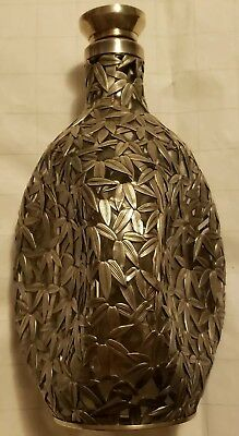 ANTIQUE 950 SILVER CHINESE BAMBOO OVERLAY DECANTER GLASS PINCH BOTTLE scrap use
