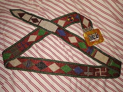 Vintage Native American Indian Glass Beaded Belt With Swastika Cross And Arrow